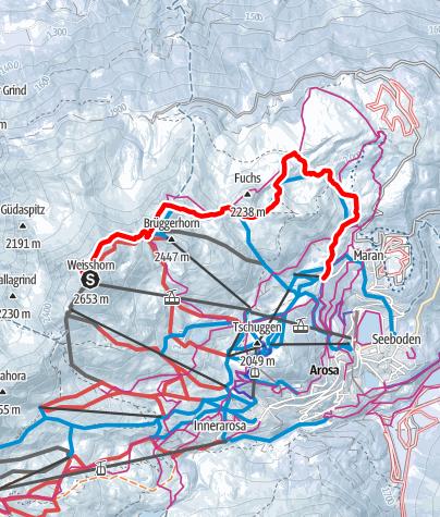 Map / Weisshorn Peak – Sattel hut – Scheidegg – Middle Station