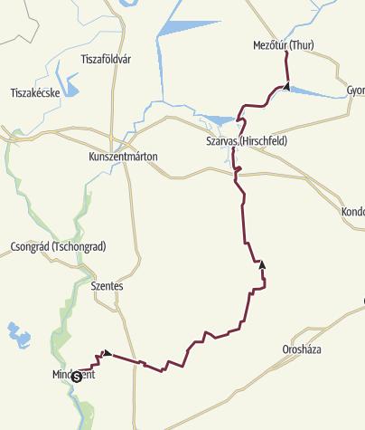 Térkép / Alföldi Kéktúra 4. szakasz: Mindszent vasútállomás - Mezőtúr (AK-04.)