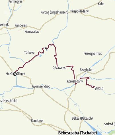 Térkép / Alföldi Kéktúra 5. szakasz: Mezőtúr - Vésztő (AK-05.)