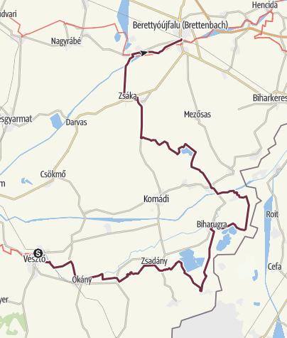 Térkép / Alföldi Kéktúra 6. szakasz: Vésztő - Berettyóújfalu (AK-06.)