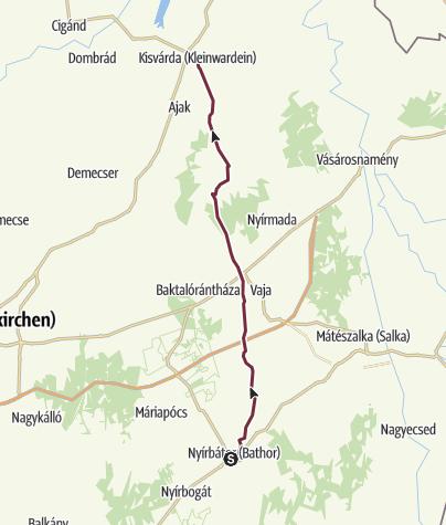 Térkép / Alföldi Kéktúra 9. szakasz: Nyírbátor - Kisvárda (AK-09.)