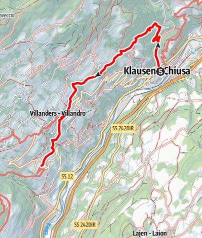 Karte / Keschtnweg von Klausen über Villanders nach Sauders