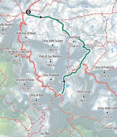 Map / Alta Via nr. 2 - Pale di San Martino (stage 3)
