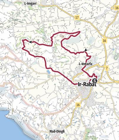 Map / Mdina Loop via Chadwick Lakes & Dwerja Lines