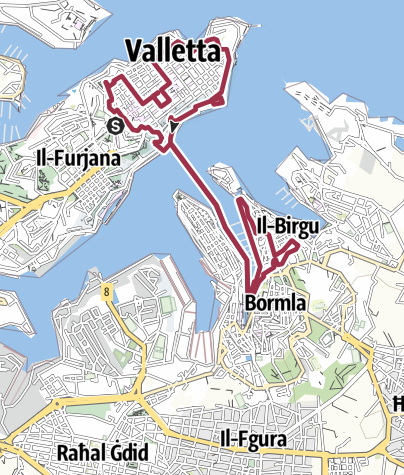 Map / Valetta to Vittoriosa