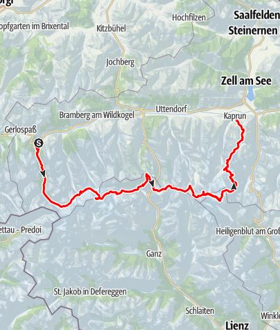 Kaart / Hohe Tauern gletsjertocht