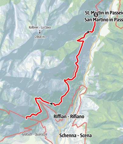 Mappa / Tappa Alta Via di Merano 6: da Matatz alla Muta