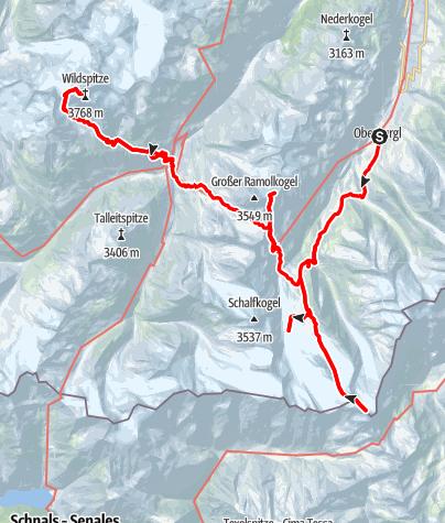 Kaart / Otzi's Klettersteigen en gletsjers