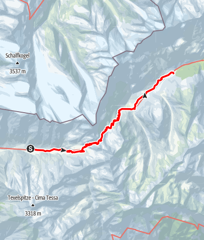 Map / Merano High Mountain Trail Stage Suggestion No. 4: from the Eishof Farm to Plan/Pfelders