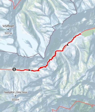 Mapa / Etappenvorschlag Meraner Höhenweg 4: Vom Eishof nach Pfelders