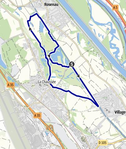 Karte / On paths of the Petite Camargue Alsacienne – Three Auen Tour