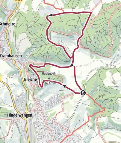 """Karte / Auf den Spuren der Heidenhöhlen und des """"Alten Postwegs"""""""