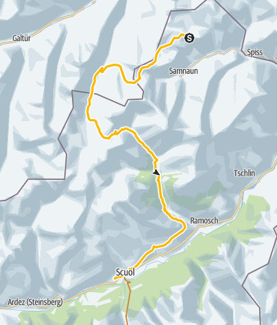 Karte / Schmuggler Bike-Tour, Etappe 1: Samnaun - Scuol