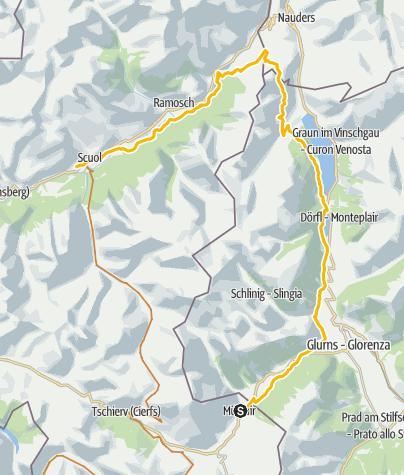 Map / Schmuggler Bike-Tour, Etappe 3: Val Müstair - Reschenpass - Scuol