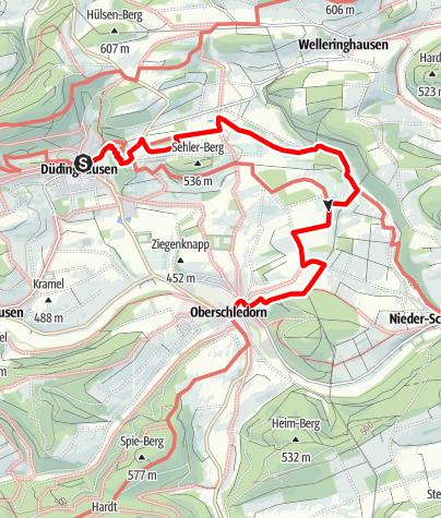 Kaart /  Medebacher Bergweg - Etappe 9: Düdinghausen - Oberschledorn