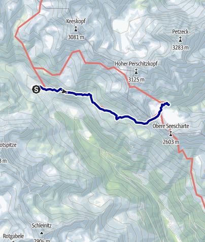 Kaart / Fuscher Tal - Lienz - Etappe 4: Lienzer Hütte - Wangenitzsee Hütte