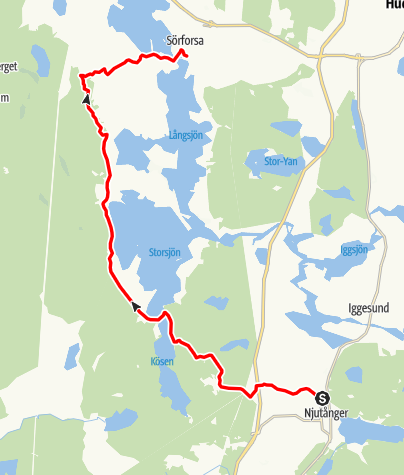 Karta / Stråsjöleden,  Njutånger till Jesu Hjärtas kapell i Sörforsa