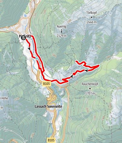 Karte / Rundstrecke Wolligger Hütte