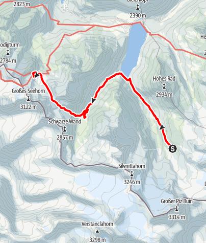 Karte / Silvretta-Runde, Etappe 5: Wiesbadener Hütte - Saarbrücker Hütte
