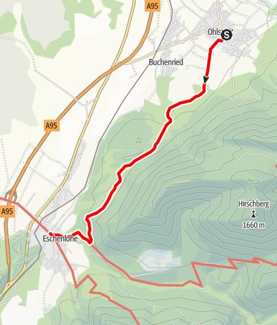 Karte / Wanderung - Eschenlohe über den Heuberg