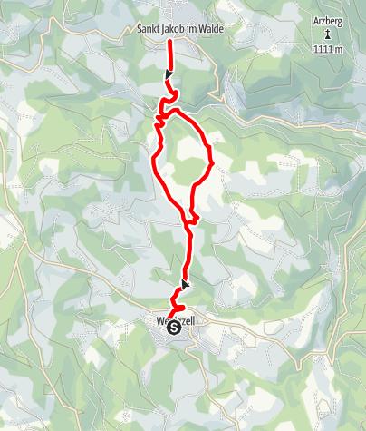 Karte / Rundwanderweg Wenigzell - Ortsgrenze St. Jakob im Walde - Wenigzell, Nr. 7