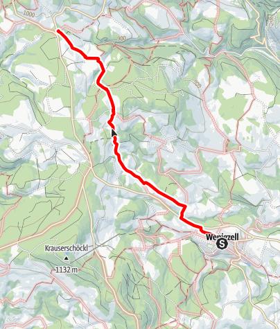 Karte / Wanderweg Wenigzell Nr. 916: Wenigzell - Schacherbauer Kapelle