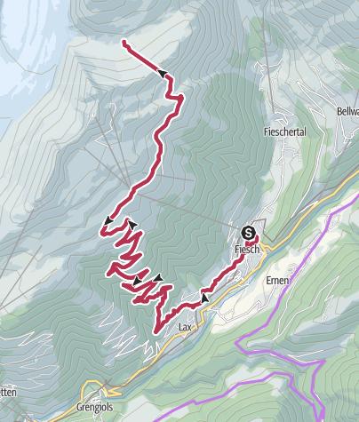 Map / From Fiescheralp to Märjela