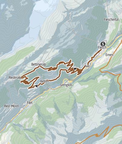 Map / Martisberg round trip past Riederalp and Bettmeralp