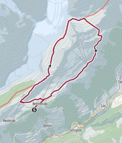 Map / 'Big Three Lakes' hike: Bettmersee, Blausee, Märjelensee