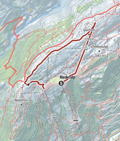 Map / Themed Adventure Trail (ridge path) from Moosfluh to Riederfurka