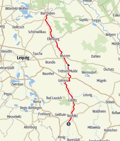 Karte / Muldental-Wanderweg von Rochlitz nach Bad Düben