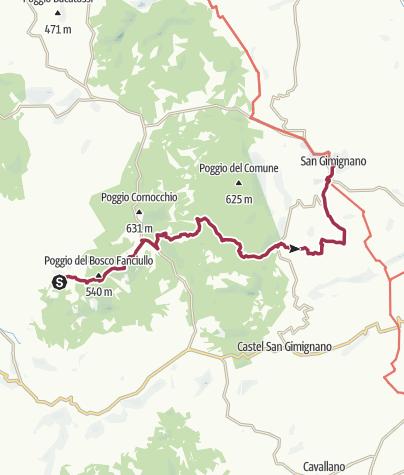 Map / Reserva Naturale Montenero  to San Gimignano