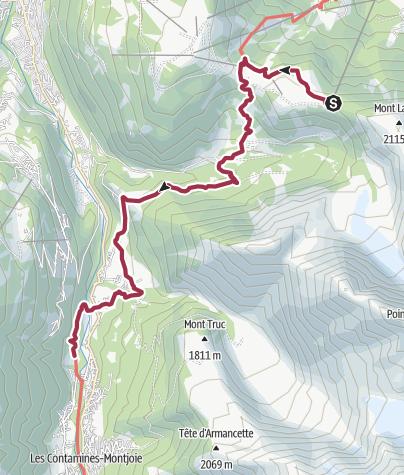 Map / Les Houches to Les Contamines via Bionnassay