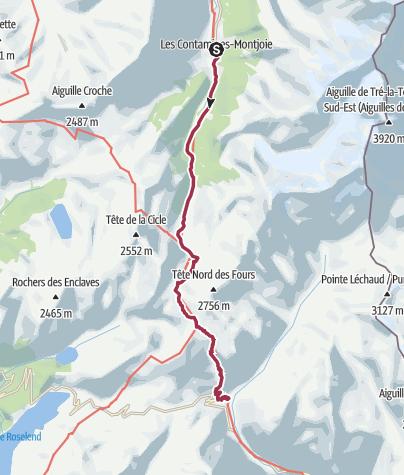 Map / Les Contamines to Les Chapieux via Col de la Croix du Bonhomme (no Col du Fours)