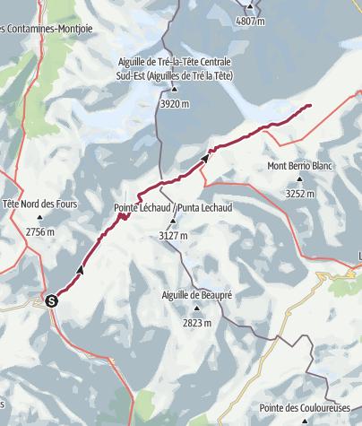 Map / Les Chapieux/Refuge des Mottets to La Visaille via Col de La Seigne and Rifugio Elisabetta