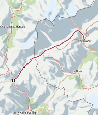 Kaart / Les Chapieux/Refuge des Mottets to Courmayeur via La Visaille
