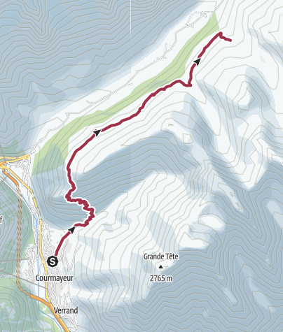 Map / Courmayeur to Rifugio Bonatti