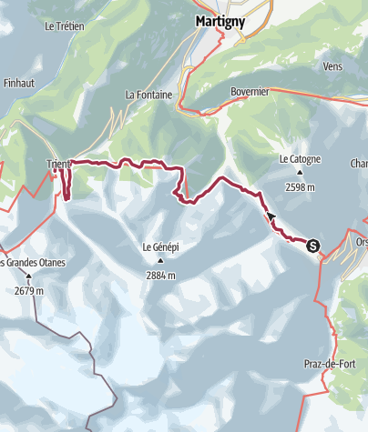 Map / Champex to Trient via Alp Bovine