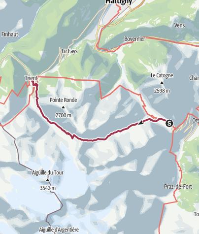 Map / Champex to Trient via Fenêtre d'Arpette