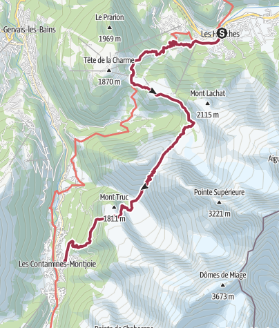 Map / Les Houches to Les Contamines via Refuge de Miage