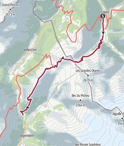 Map / Trient to Tré-le-Champ (Argentiere) via Col de Balme