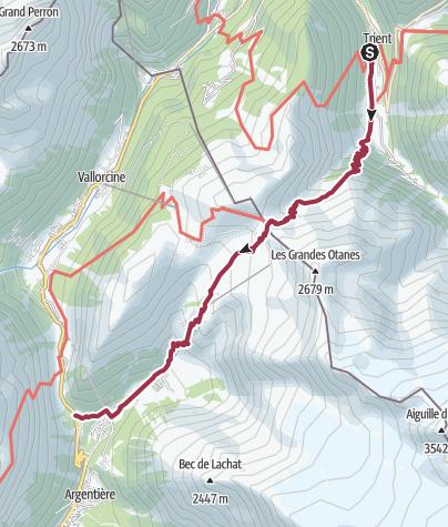 Map / Trient to Tré-le-Champ (Argentière) via Le Tour
