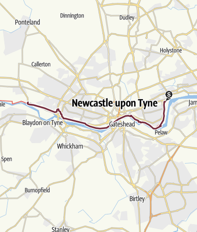 Map / Wallsend to Newburn (via Newcastle Upon Tyne)