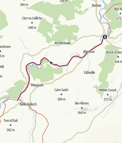 Karte / Craigellachie to Ballindalloch