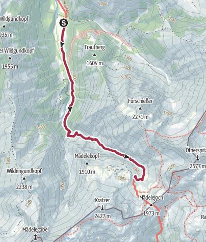 Map / Von Oberstdorf bis zur Kemptner Hütte