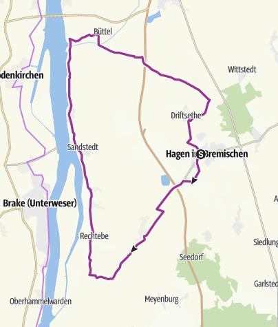 Karte / De Stroom - Radrundweg am Weserstrom