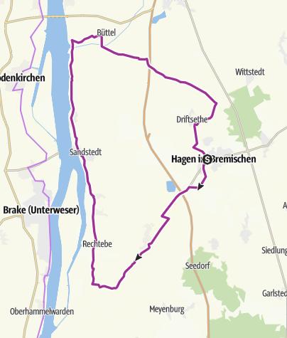 Karte / De Stroom - Radrundweg am Weserstrom und dem Hagener Königsmoor