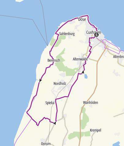 Karte / De Küst - Radrundweg von Cuxhaven zu den Krabbenfischern
