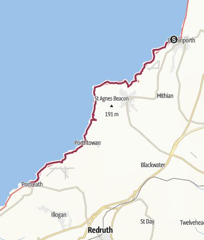 Map / Perranporth to Porthreath
