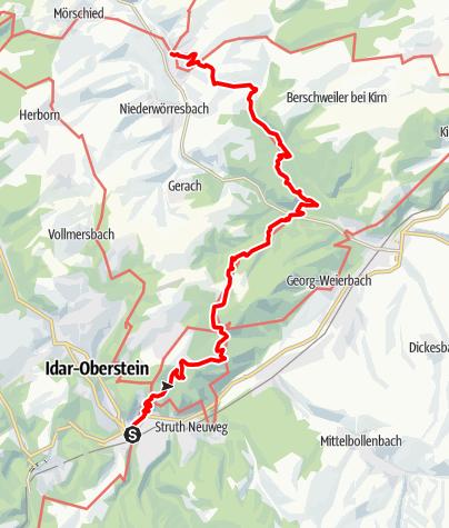 Karte / 01. Etappe Hildegard von Bingen Pilgerwanderweg: Idar-Oberstein - Herrstein